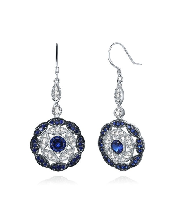 Merthus Antique Vintage Cluster Created Blue Sapphire Statement Hook Dangle Earrings 925 Sterling Silver - blue - C617YDZGOK9