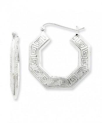 Sterling Silver Greek Key Hoop Earrings (1.18 in x 1.06 in) - CB113EOARGR