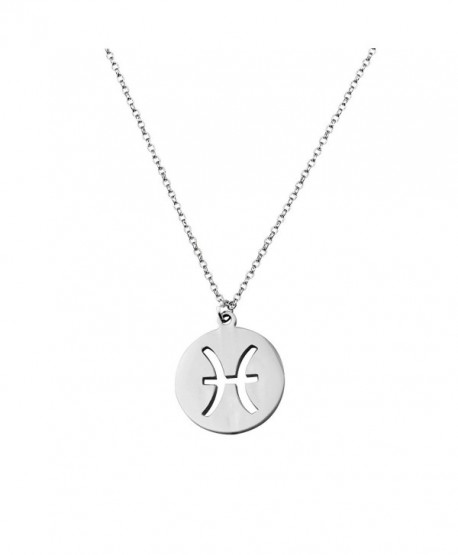 ZUOBAO Birthday Gift Zodiac Signs Cut Out Disc Necklace Horoscope Zodiac Choker Necklace - Pisces pendant - CI12OCJOHID
