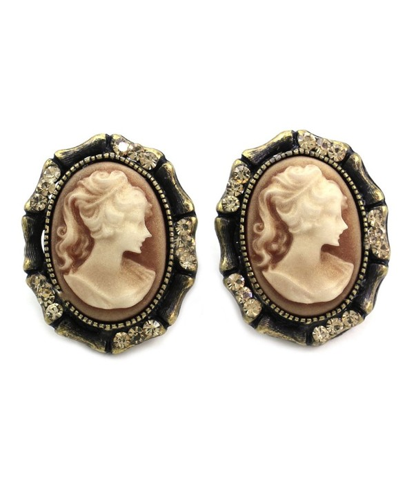 Light Brown Cameo Stud Post Earrings Fashion Jewelry - CD11BZ077DJ