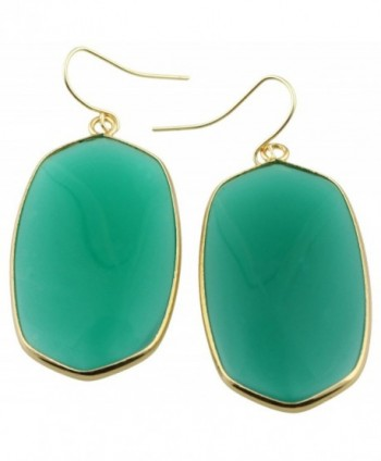 rockcloud Crystal Stone Dangle Hook Earrings Oval Gold Plated - A-Green Crystal Glass(Oval) - CS12IJ7HXJ3