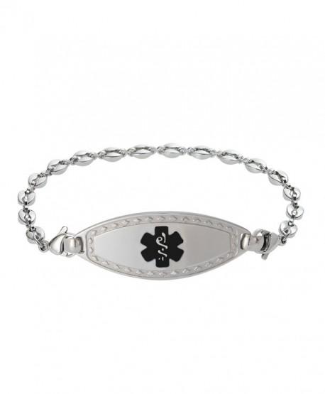 Divoti Custom Engraved Diamond Border Medical Alert Bracelet -Anchor Stainless -Black - CZ17YH6NQHT