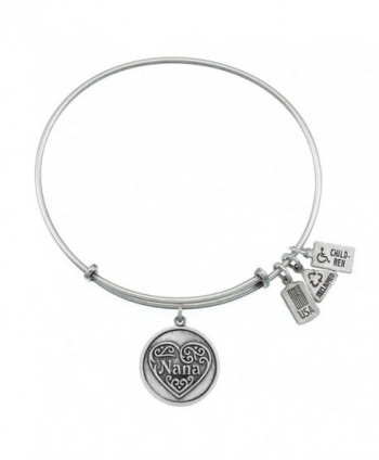 Wind and Fire Nana- Filigree Heart Charm Bangle - CJ11XSCGIHX