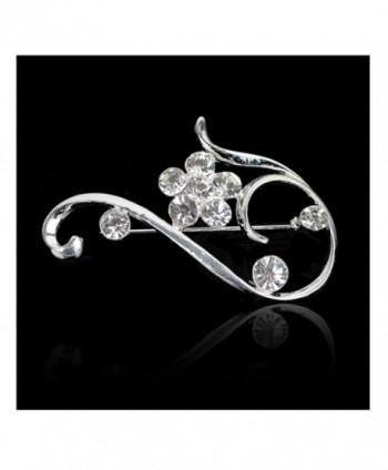 Elegant Blossom Plum Flower Crystal Brooch Pin - Silver - C512MASTVNV
