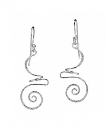 Intricate Abstract Swirls Sterling Silver .925 Dangle Fish Earrings - CS11N320TT1