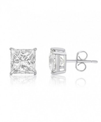 Square Princess Cut 4mm white Cubic Zirconia .925 Sterling Silver Basket Setting Unisex Stud Earrings - CS119PIOH7R