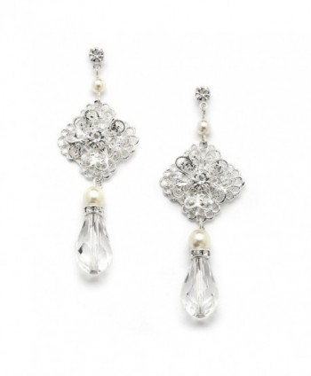 Mariell Vintage Crystal Drop Wedding Bridal Earrings with Glass Pearls - Sterling Silver Plated Filigree - C217WXCS3HE