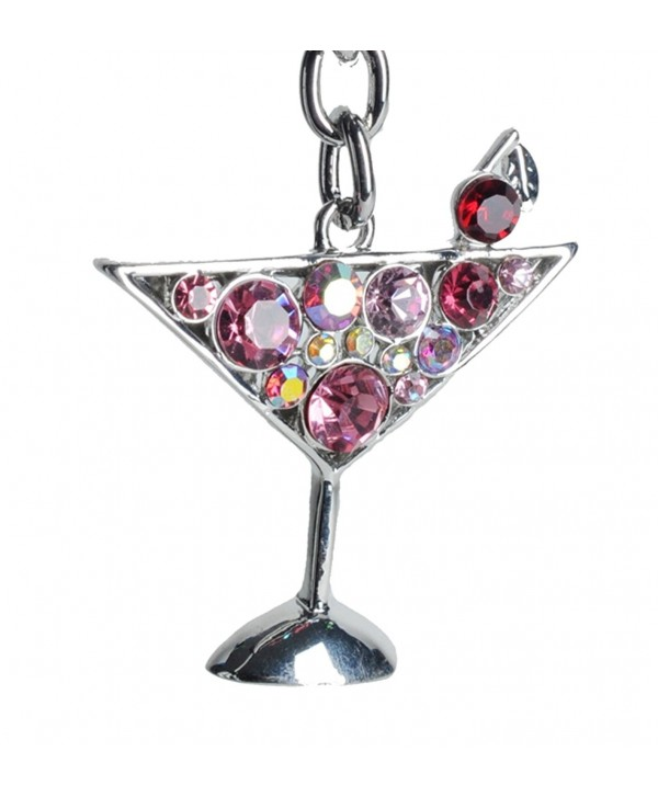 Lilly Rocket Pink Rhinestone Martini Party Glass Cocktail Bling Key Chain Keyring with Swarovski Crystals - CG119N3E2NX