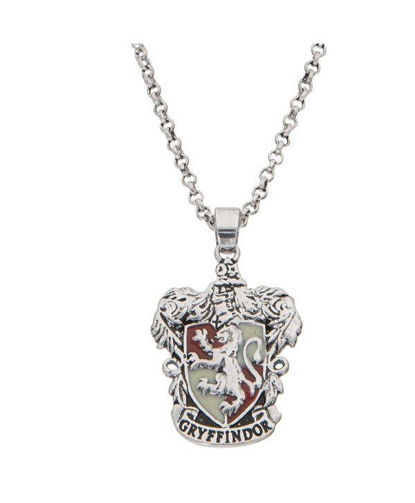 """Harry Potter Women's and Girls Jewelry Silver Plated Gryffindor House Crest Pendant- 16""""+2"""" - C61896KTXDL"""