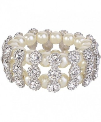 EVER FAITH 2 Layer Bridal Flower Cream Simulated Pearl Stretch Bracelet Clear Austrian Crystal - CO11LW5KGDF