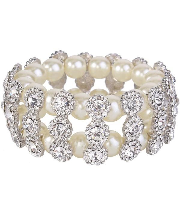 EVER FAITH 2 Layer Bridal Flower Cream Simulated Pearl Stretch Bracelet Clear Austrian Crystal - CO11LW5KGDF