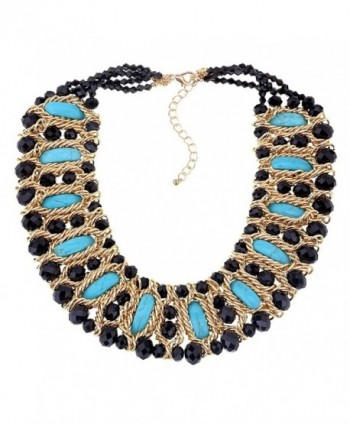 Crystals Beads and The Moon-shape Turquoise Strand Fashion Statement Necklace for Girl & Women - Black - CE183L50TQ2