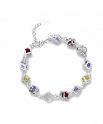 HMILYDYK New Fashion Square Colorful Crystal Jewellery 925 Sterling Silver plated Bracelet - CU12F9R7869