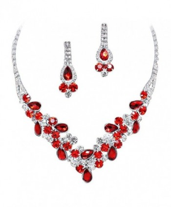 Elegant Red V-Shaped Garland Prom Bridesmaid Evening Necklace Set Silver Tone L1 - CE11P9GNVKX