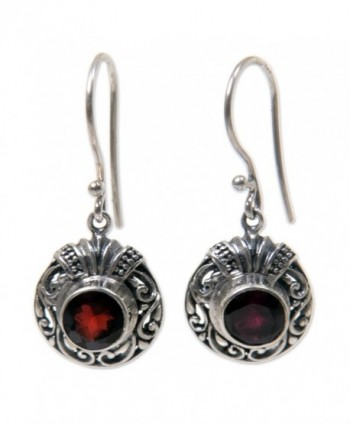 NOVICA .925 Sterling Silver and Garnet Round Dangle Earrings- 'Scarlet Ladybug' - CI127W267VV