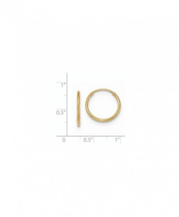 Solid 10k Yellow Gold Polished Endless Tube Hoop Earrings 17 x1.2mm - CV12N1H1N71
