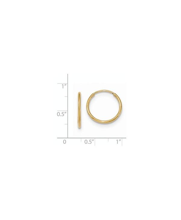 Solid 10k Yellow Gold Polished Endless Tube Hoop Earrings 17 x1.2mm - CV12N1H1N71
