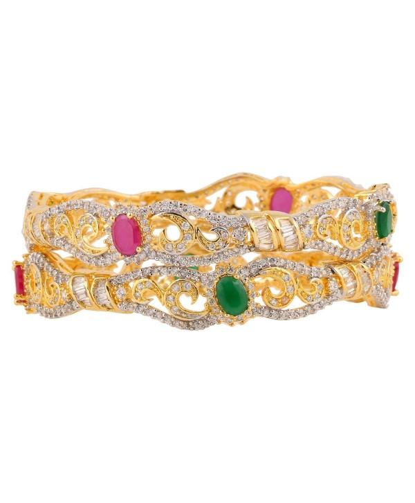 Swasti Jewels Statement Colourful Zircon Stone Fashion Jewelry Bangle Set for Women (2 Pieces) - C412D73ODPB