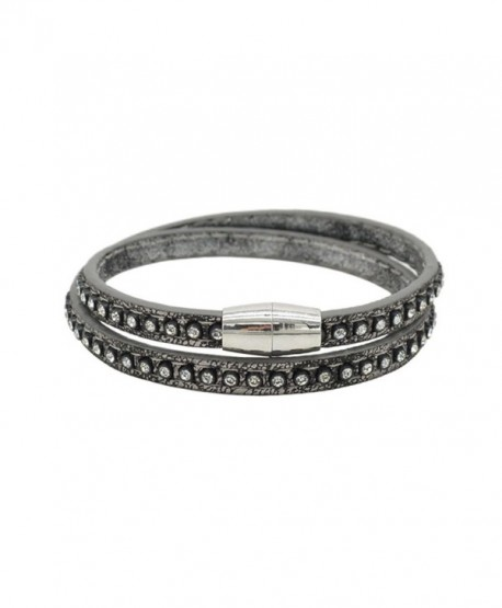 Victoria Echo Unisex 2 Rounds Crystal Sparking Magnetic Clasp Leather Bracelet Bangle - grey - CE12IP7RMHF