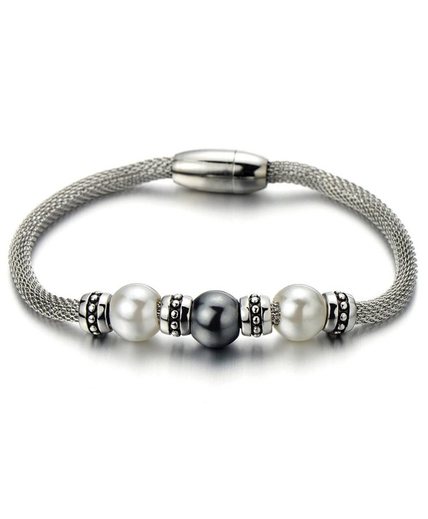 Synthetic Grey White Pearls Beads Beaded Charm Bracelet - CC11XIGS2OL
