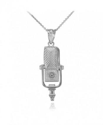 Recording Microphone Music Studio Necklace 925 Sterling Silver - CC12LCG4RLZ