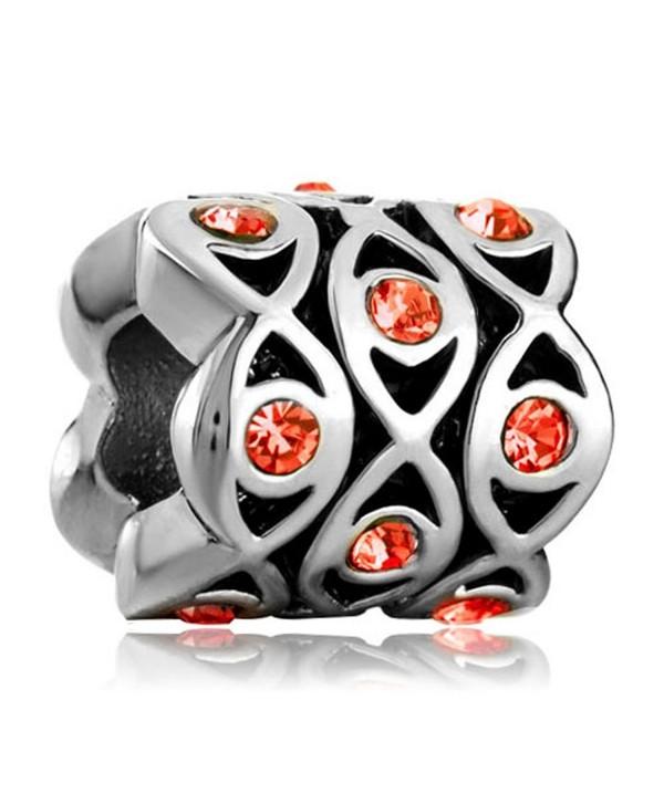 LovelyJewelry Infinity Charm Orange Crystal Evil Eye Bead Bracelet - CI11RB3OOL7