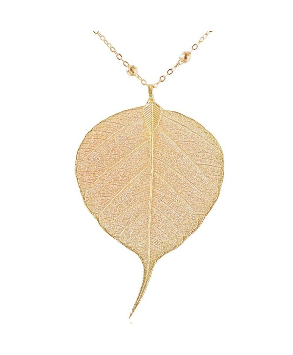 Leaf pendant leaf vein necklace leaf charm pendant long chain pure natural Bodhi leaf necklace - Champagne Gold - CV182W6W355