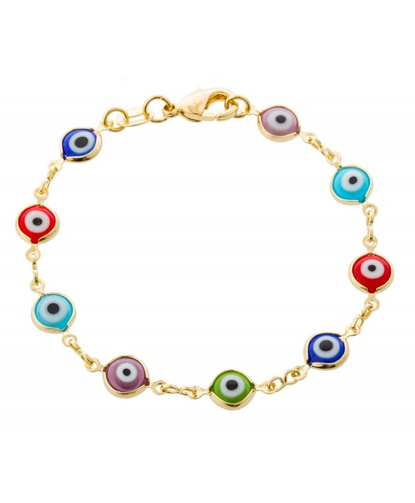 Two Year Warranty Gold Overlay with Multi Colors 6 Inch Evil Eye Baby Link Bracelet - CS11JTDI28X