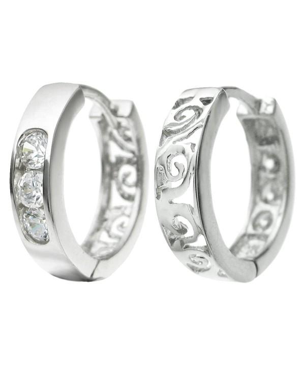 Dreambell Rhodium On 925 Sterling Silver Filigree Flower Cz Crystal Ring Hoop Earwire Huggie Earrings - C2126TX9T23