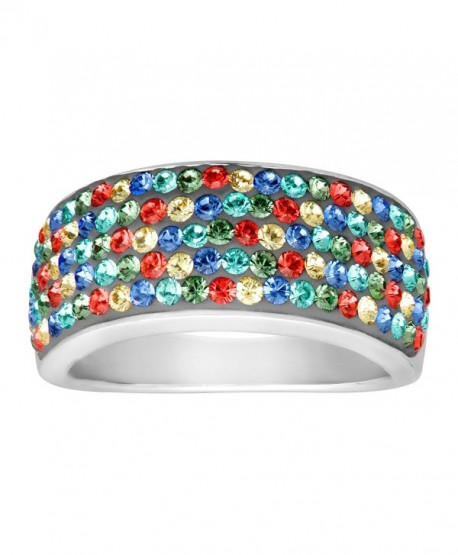 Crystaluxe Confetti Band Ring with Swarovski Crystals in Sterling Silver - CV126XYPMB5