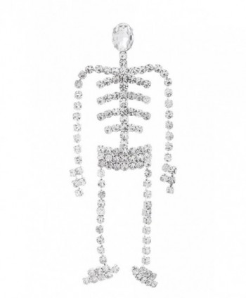 Swinging Skeleton Rhinestone Brooch Pin for Halloween with Clear Crystals - C211OV03KP9