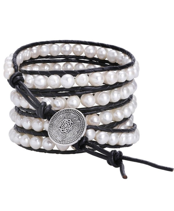 Aobei Long 5 Row Cultured Freshwater Pearls Wrap Around Bracelet Beaded Leather Jewelry - CT12NBUF0CF