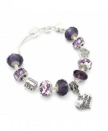 Purple Special Sister Starter Charm Bracelet European Style Gift Boxed 20cm - CK12CHTBI13