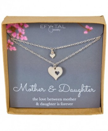 Mother Daughter Set For Two- Cutout Heart Necklaces- 2 Sterling Silver Necklaces Mother's Day Gift - CK17X0ELC68