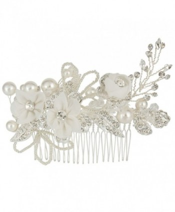 EleQueen Women's Silver-tone Crystal Simulated Pearl Flower Art Deco Bridal Hand-made Hair Comb Clear - CM128HXTHEN