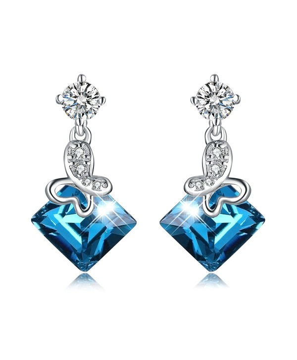 Ocean Blue Cube Crystal Drop Dangle Earrings 925 Sterling Silve Square Cubic Earring For Woman - C51886M8RTH