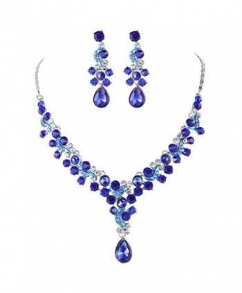 Austrian Rhinestone V shaped Teardrop Necklace - Blue - CD18525TR4D