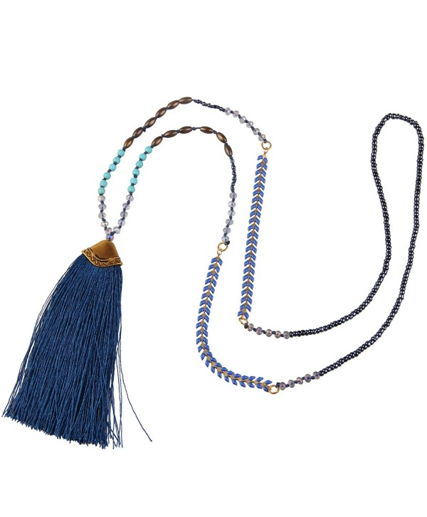 KELITCH Syuthetic Turquoise Crystal Beaded Necklace Tassel Layering Pendant Necklace New Jewelry - Dark Blue - CC12DOQH0LF
