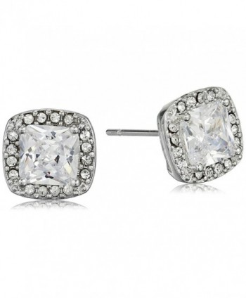 Cara Square Center with Pave Surround Stud Earrings - CN120SNXFON