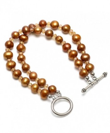 Aobei Dyed Bronze Freshwater Cultured Pearls Bracelet-Two Strands Knotted Pearls Jewelry Wristband - CR17Y0RM7YC