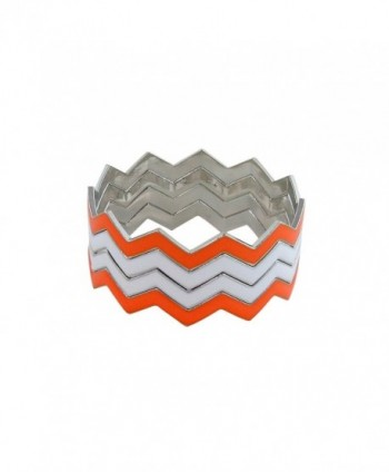 ZigZag Bangles Chevron Design Bracelets - Orange and White - C511GDYYUUZ