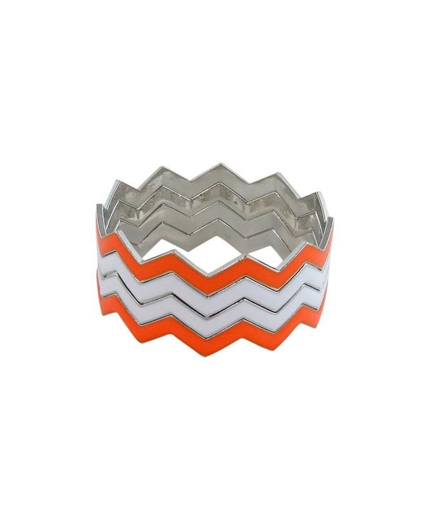 ZigZag Bangles Chevron Design Bracelets - Orange and White - C511GDYYUUZ