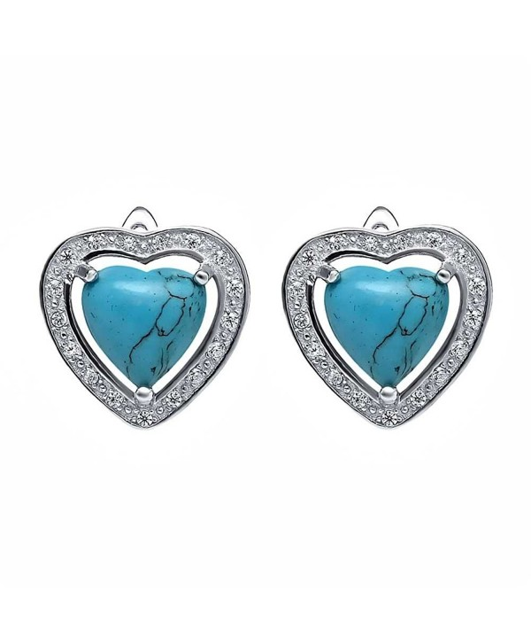 Beautiful Sterling Silver 4mm Simulated Turquoise Heart Shaped Stud Earrings - CP125MRDW4N