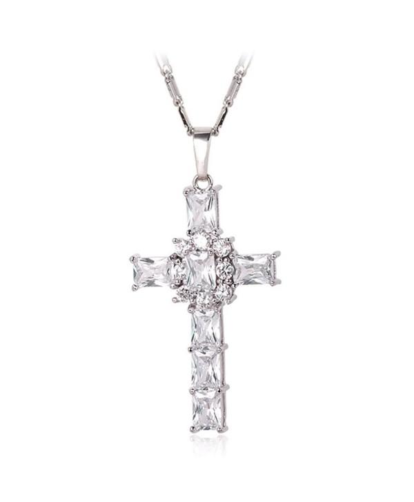 Zirconia Necklace Platinum Crystal White Platinum - White-Platinum - CJ129WJ0F4R