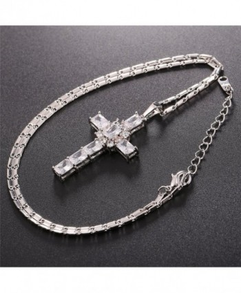 Zirconia Necklace Platinum Crystal White Platinum in Women's Pendants
