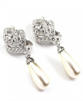 FC JORY White & Rose Gold Rhinestones Simulated Pearl Dangle Drop Women Girl Flower Bud Clip-on Earring - Silver - CM11E4H7UWX