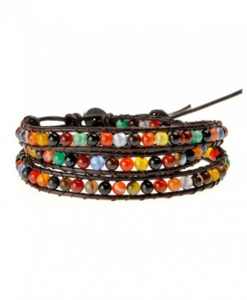 ZLYC Unisex Hand Woven Mix Color Agate Beads Leather Cord Three Wraps Bracelet - Brown - CC12B61HOAV
