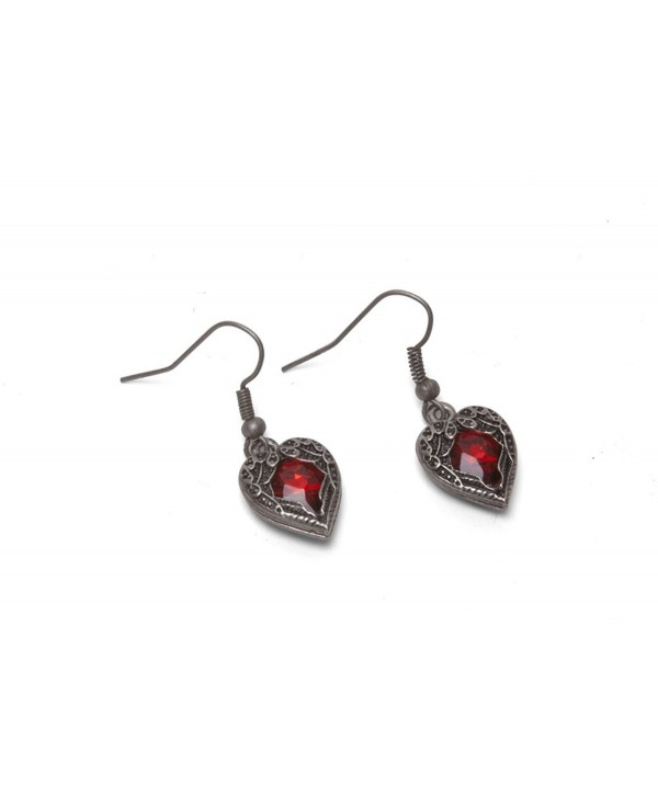 Steampunk Earrings - Winged Heart - Red - C511X9I2A0T