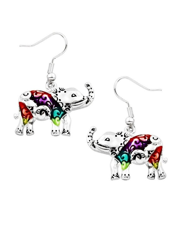 Liavy's Multi-Color Elephant Fashionable Earrings - Hand Painted - Epoxy - Fish Hook - Unique Gift and Souvenir - CT12MZTMPMB