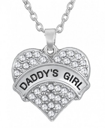 Daddy's Girl Silver Tone Engraved Heart Necklace Gift for Daughters | Easter Jewelry Gifts - Clear - CT12C37QYKJ